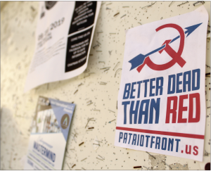 Patriot Front flyers which targeted the Chapman community in 2019, reappeared at the start of the Fall 2020 semester. Photo courtesy of Panther News photo editor Kali Hoffman.